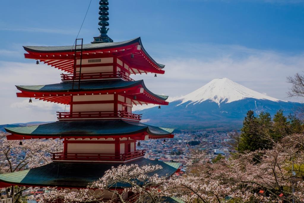 View of the majestic mount Fuji in Japan